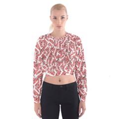 Merry Christmas Xmas Pattern Women s Cropped Sweatshirt