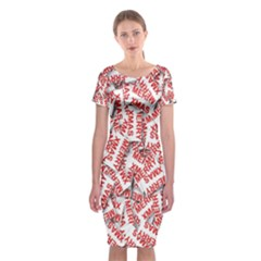 Merry Christmas Xmas Pattern Classic Short Sleeve Midi Dress