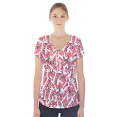 Merry Christmas Xmas Pattern Short Sleeve Front Detail Top