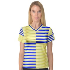 Metallic Gold Texture Women s V-Neck Sport Mesh Tee