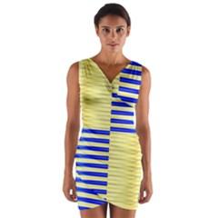 Metallic Gold Texture Wrap Front Bodycon Dress