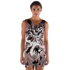 Metal Lighted Background Light Wrap Front Bodycon Dress