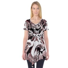 Metal Lighted Background Light Short Sleeve Tunic