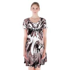Metal Lighted Background Light Short Sleeve V-neck Flare Dress