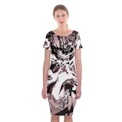 Metal Lighted Background Light Classic Short Sleeve Midi Dress