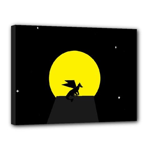 Moon And Dragon Dragon Sky Dragon Canvas 16  X 12