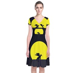 Moon And Dragon Dragon Sky Dragon Short Sleeve Front Wrap Dress