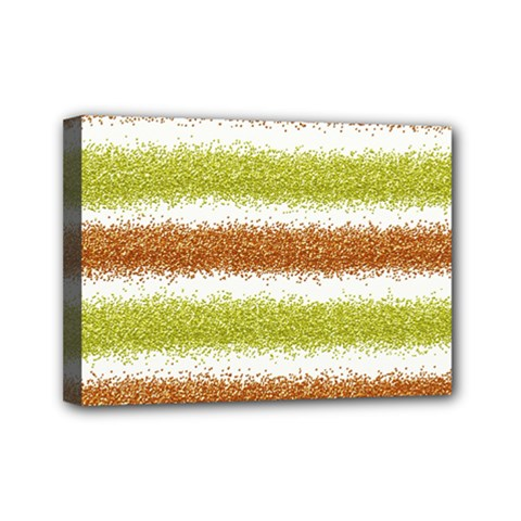 Metallic Gold Glitter Stripes Mini Canvas 7  x 5