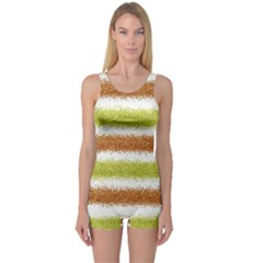 Metallic Gold Glitter Stripes One Piece Boyleg Swimsuit