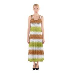 Metallic Gold Glitter Stripes Sleeveless Maxi Dress