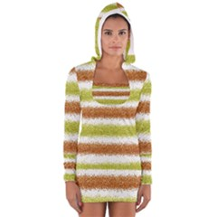 Metallic Gold Glitter Stripes Women s Long Sleeve Hooded T Shirt