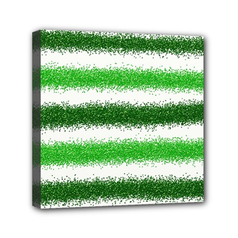 Metallic Green Glitter Stripes Mini Canvas 6  x 6