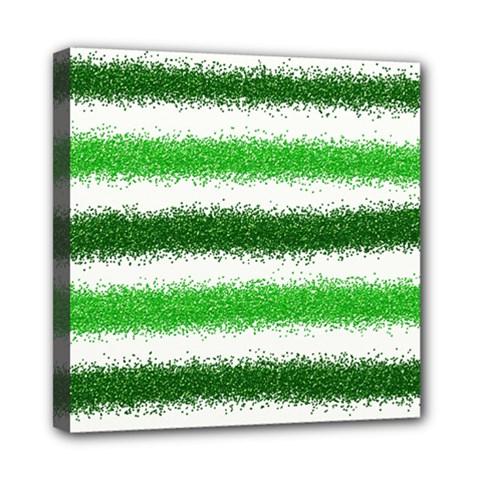 Metallic Green Glitter Stripes Mini Canvas 8  x 8