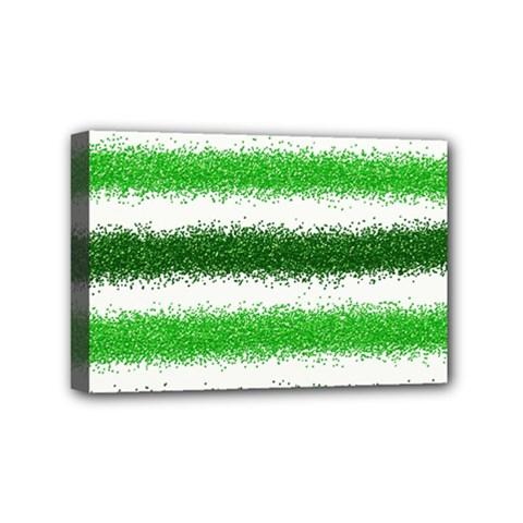 Metallic Green Glitter Stripes Mini Canvas 6  X 4