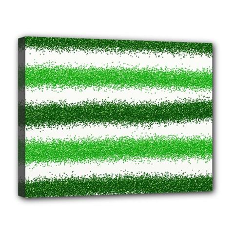Metallic Green Glitter Stripes Canvas 14  X 11