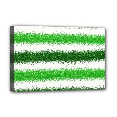 Metallic Green Glitter Stripes Deluxe Canvas 18  x 12