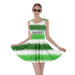 Metallic Green Glitter Stripes Skater Dress