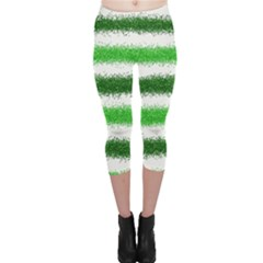 Metallic Green Glitter Stripes Capri Leggings