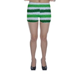 Metallic Green Glitter Stripes Skinny Shorts
