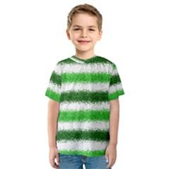 Metallic Green Glitter Stripes Kids  Sport Mesh Tee