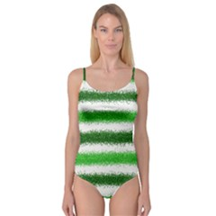 Metallic Green Glitter Stripes Camisole Leotard