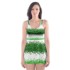 Metallic Green Glitter Stripes Skater Dress Swimsuit