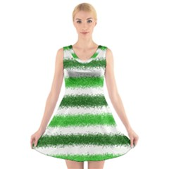 Metallic Green Glitter Stripes V Neck Sleeveless Skater Dress