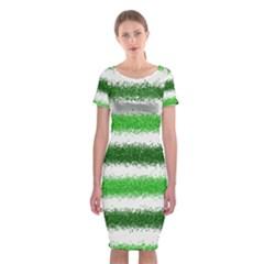 Metallic Green Glitter Stripes Classic Short Sleeve Midi Dress