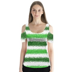 Metallic Green Glitter Stripes Butterfly Sleeve Cutout Tee