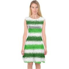 Metallic Green Glitter Stripes Capsleeve Midi Dress