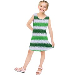 Metallic Green Glitter Stripes Kids  Tunic Dress