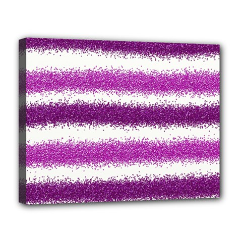 Metallic Pink Glitter Stripes Canvas 14  X 11