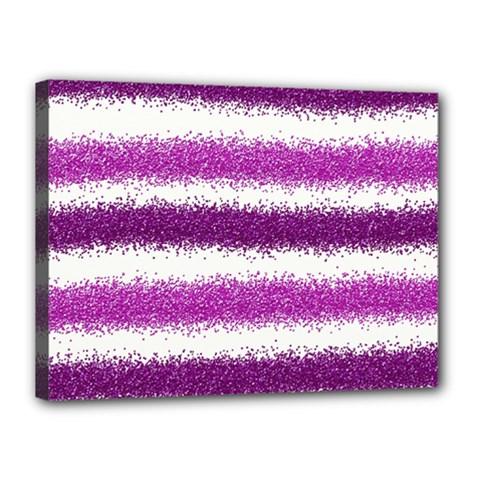 Metallic Pink Glitter Stripes Canvas 16  x 12