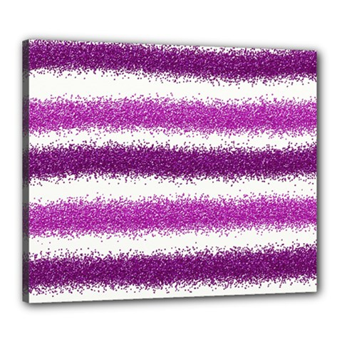 Metallic Pink Glitter Stripes Canvas 24  x 20