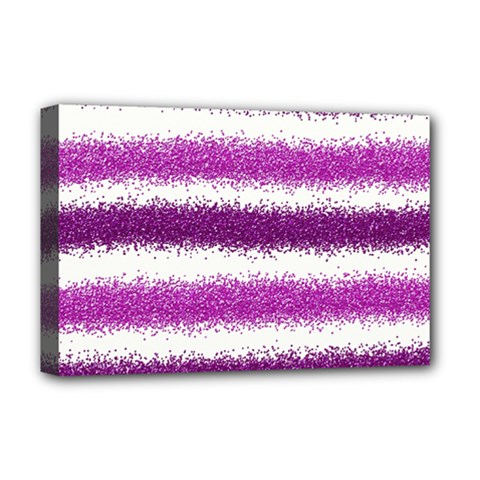 Metallic Pink Glitter Stripes Deluxe Canvas 18  x 12