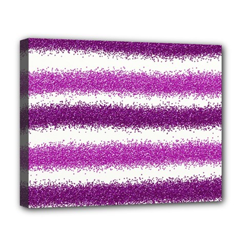 Metallic Pink Glitter Stripes Deluxe Canvas 20  x 16