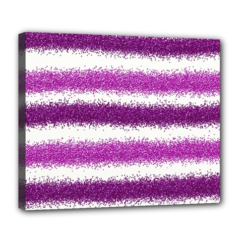 Metallic Pink Glitter Stripes Deluxe Canvas 24  x 20
