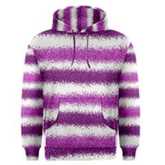 Metallic Pink Glitter Stripes Men s Pullover Hoodie