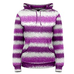 Metallic Pink Glitter Stripes Women s Pullover Hoodie