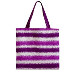 Metallic Pink Glitter Stripes Zipper Grocery Tote Bag