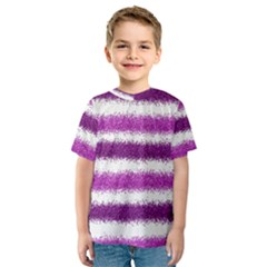 Metallic Pink Glitter Stripes Kids  Sport Mesh Tee