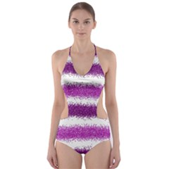 Metallic Pink Glitter Stripes Cut-Out One Piece Swimsuit