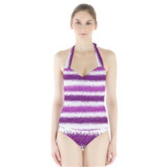 Metallic Pink Glitter Stripes Halter Swimsuit