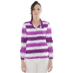 Metallic Pink Glitter Stripes Wind Breaker (Women)