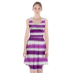Metallic Pink Glitter Stripes Racerback Midi Dress