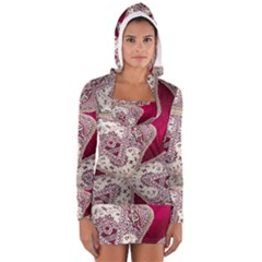 Morocco Motif Pattern Travel Women s Long Sleeve Hooded T-shirt