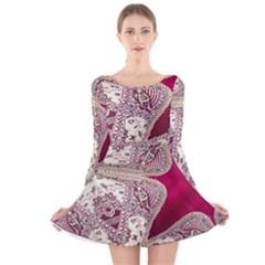 Morocco Motif Pattern Travel Long Sleeve Velvet Skater Dress