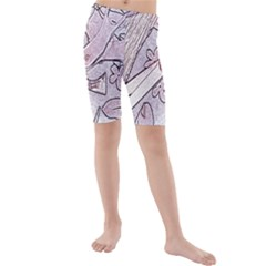 Newspaper Patterns Cutting Up Fabric Kids  Mid Length Swim Shorts