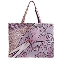 Newspaper Patterns Cutting Up Fabric Zipper Mini Tote Bag