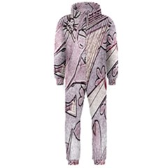 Newspaper Patterns Cutting Up Fabric Hooded Jumpsuit (men)